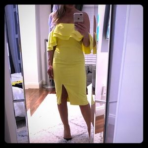 Bardot yellow dress off-shoulder